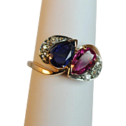 Vintage Sapphire, Ruby and Diamond 14kt Crossover Ring
