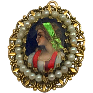 Antique French Enamel Portrait Miniature in Pearl Frame Pin/Pendant 14kt