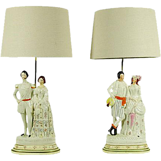 Staffordshire Figural Custom Lamps, Pair