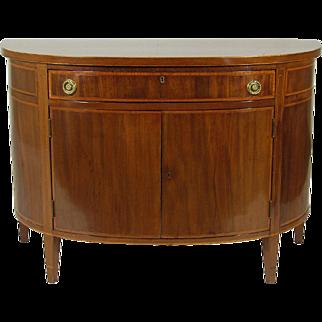 Georgian Style Inlaid Demilune Cabinet