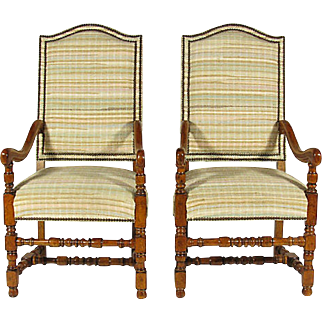 French Fruitwood Arm Chairs, Pair