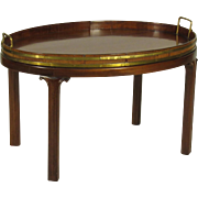 19th-C. English Butler's Tray On Stand
