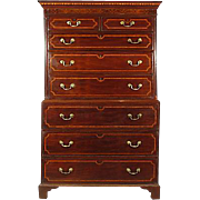 19th-C. George III Inlaid Chest on Chest