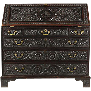 19th-C. English Carved Drop-Front Desk