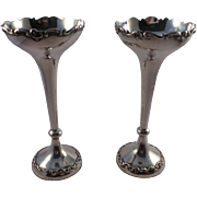 Good Quality Pair of Antique Sterling Silver Vases London 1902
