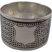 Unusual Antique Sterling Silver Thimble Design Napkin Ring Birmingham 1905