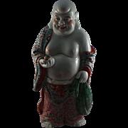 Very Rare Antique Chinese Standing Happy Buddha Circa 1900