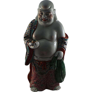 Very Rare Antique Chinese Standing Happy Buddha Circa 1900