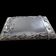 Superb Large Size Antique Sterling Silver Card Case Birmingham 1905
