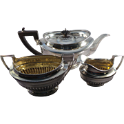 Top Quality Antique Sterling Silver 3 Piece Tea Service / Set London 1910 Charles Stuart Harris