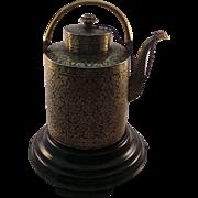 Rare Antique Thai Siamese Silver And Gold Niello Teapot Circa 1850