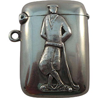 Very Nice Antique Sterling Silver Golfer Match Safe Vesta Case