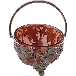 Beautiful Antique Silverplated and Red Glass Basket Circa 1880