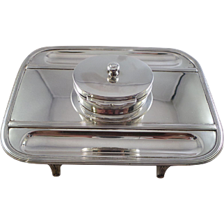 Top Quality Antique Sterling Silver Desk Inkstand London 1884