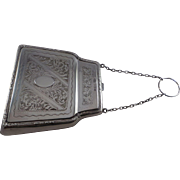 Superb Large Rare Design Sterling Silver Purse Birmingham 1919