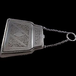Superb Large Rare Design Sterling Silver Purse Birmingham 1919