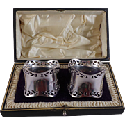 Superb Pair of Antique Sterling Silver Napkin Rings 1912