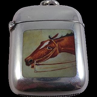 Good Antique Sterling Silver Enamel Horse Vesta Case / Match Safe Birmingham 1887
