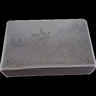 Rare Antique Sterling Silver Hunting Scene Vesta Case Match Safe London 1897