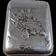 Rare American Antique Sterling Silver Driving Scene Match Safe Circa 1900