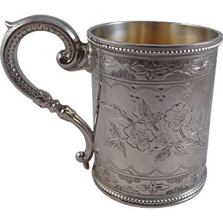 Antique Sterling Silver Christening Mug Birmingham 1891