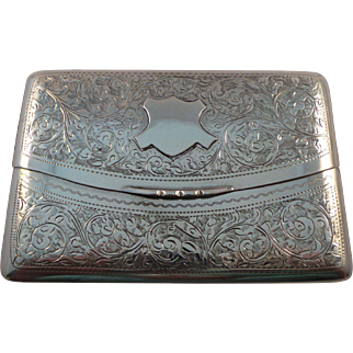 English Antique Sterling Silver Card Case Birmingham 1904