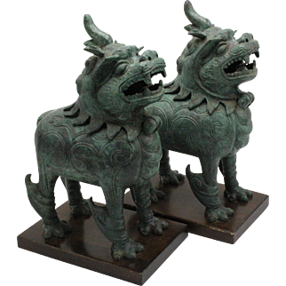 Frederick Cooper Patinated Bronze Foo Dog Censers/Incense Burners - A Pair