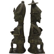 Pair of Yoruba Brass Figures for the Ogboni Cult, Nigeria
