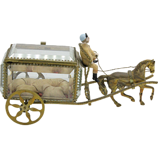 Vintage French Palais Royale Sewing or Jewelry Casket Horse & Carriage