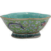 Chinese Turquoise Trefoil Bowl w/ Chilong Dragons - Daoguang Period, Shunzhi Mark