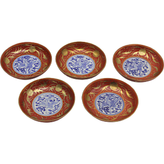 Set of Five Small Japanese Porcelain Bowls, Meji Period, Chinese Chenghua Mark