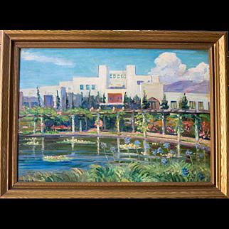 Samarkand Persian Hotel, Santa Barbara - Oil on Board Painting by Arthur Merton Hazard (1872-1930)