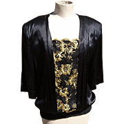 Vintage 80's glitzy and glittery, black and gold, evening top by Vera Mont