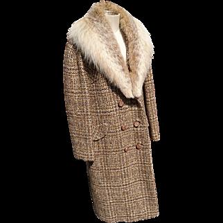 Designer vintage 60's wool coat, plaid pure wool 1960's coat by Dereta London, full length