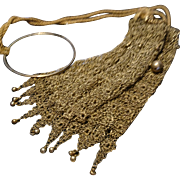Beautiful antique gilt metal chain mail purse, chatelaine purse, decadent rare drawstring antique purse