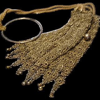 Beautiful antique gilt metal chain mail purse, chatelaine purse, decadent rare drawstring antique purse