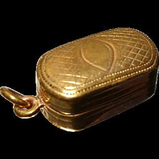 Unusual antique vinaigrette pendant, gilt metal victorian era vinaigrette, eye emblem