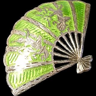 Striking vintage siam sterling and enamel fan brooch, lime green and silver fan pin