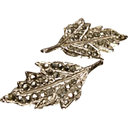Beautiful vintage 1950's white metal and marcasite leaf design clip-on earrings, vintage silver tone clip-ons