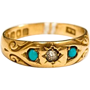 Stunning antique edwardian 18ct / 18 karat gold diamond and turquoise ring, antique ornate gypsy ring, estate ring