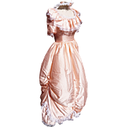 Amazing vintage 80's little bo peep style bridesmaid dress with headdress, salmon pink gown with skirt hoop