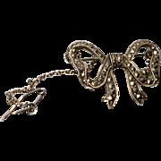 Very pretty 1920's fine silver and marcasite bow brooch, French art deco silver and marcasite pin