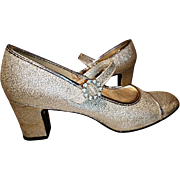 Glitzy and glittery 1970's silver dance shoes, 70's vintage disco shoes