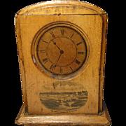 An unusual antique 19th century Mauchline ware money box, clock shaped money box, tartanware