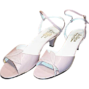 Gorgeous vintage dusky pink heels, 1980's Italian leather boxed sandals