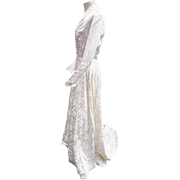 Stunning 1940's vintage cream/ivory silk brocade gown, wedding dress