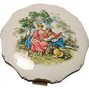 Stunning 1950's Kigu old masters enamelled compact, romantic couple vintage compact, cosmetic compact