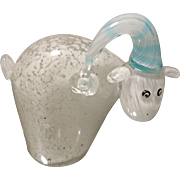 Vintage 80's studio glass paperweight, Portmeirion studio Milky the sheep, vintage collectable glass art sheep paperweight