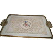 Beautiful 1920's glass, lace and gilt vanity tray, vintage petit point lace tray, 20's vanity tray