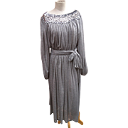 Beautiful 70's silk jersey dress with sequined neckline by Shubette London, vintage silky grey and silver mid length dress